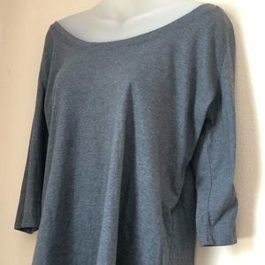 Fabletics Gray Crew Neck Off the Shoulder Plus Top